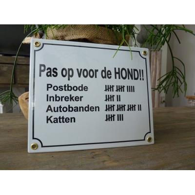 Emaille bord 'Pas op voor de hond!!' 20x17 cm