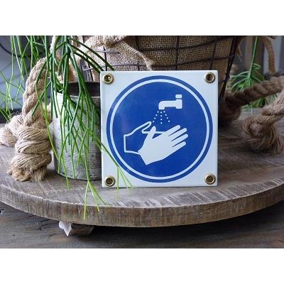 Emaille pictogram 'handen wassen'